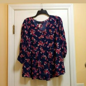 Red Camel Plus Women's Blouse Size 0x Blue Pink